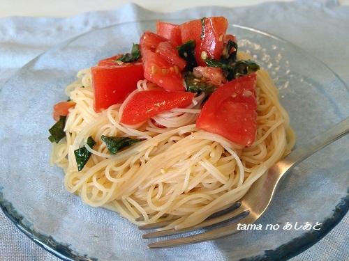 トマトと大葉の冷製パスタ