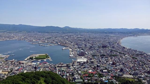73函館山から函館の街を見下ろす