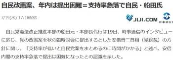 news自民改憲案、年内は提出困難=支持率急落で自民・船田氏