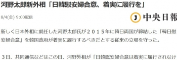 news河野太郎新外相「日韓慰安婦合意、着実に履行を」
