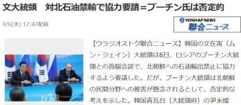 news文大統領 対北石油禁輸で協力要請=プーチン氏は否定的