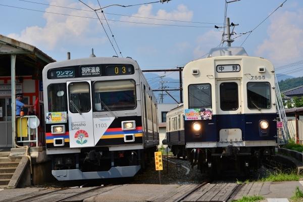 2017年7月8日 上田電鉄別所線 下之郷 1000系1003編成・7200系7255編成