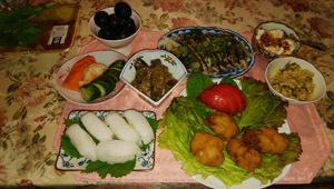 晩御飯 鶏唐・エンガワ寿司・鰹タタキ・あれこれ