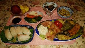 晩御飯 お寿司 揚げ物 ローストビーフ 牛肉ナス味噌煮 ゴーヤチャンプル