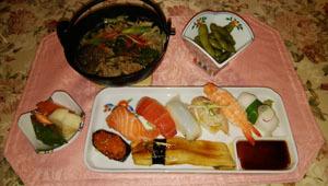 晩御飯 お寿司・すき焼き・枝豆