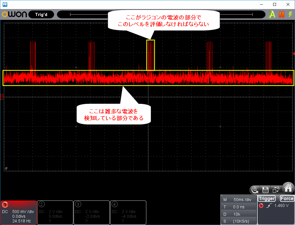 27MHz~2400MHzRFチェッカー波形1-1説明
