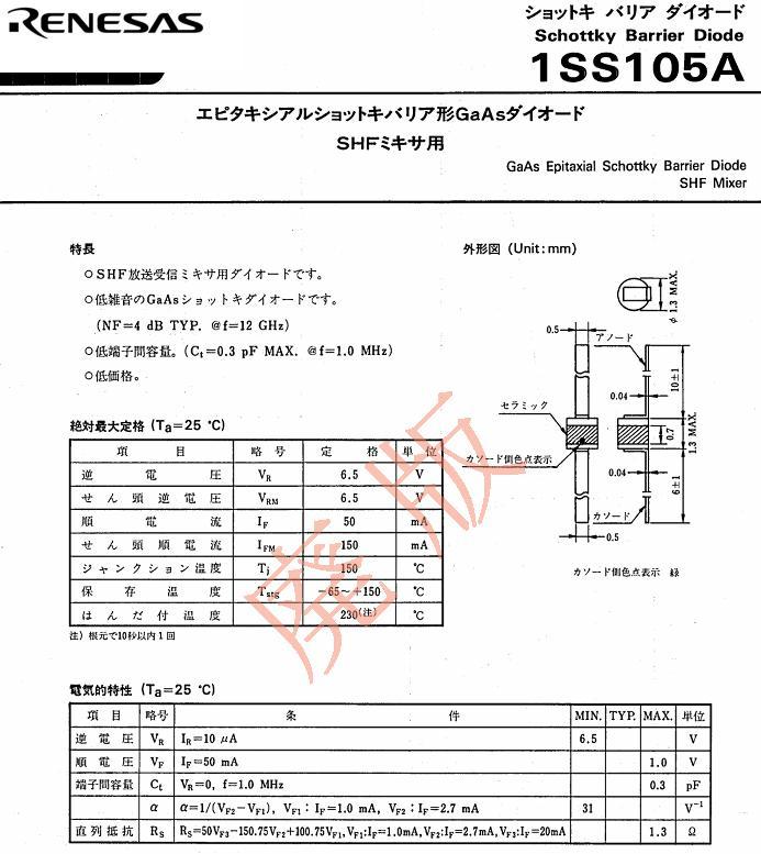 マイクロ波磁界検出器1SS105A