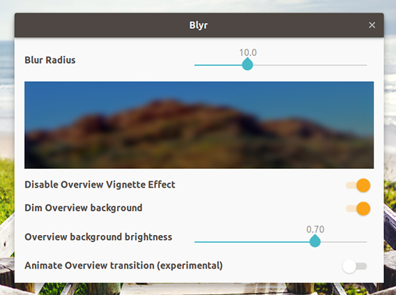 Blyr Ubuntu GNOME拡張機能 オーバービュー 背景 ぼかす オプション