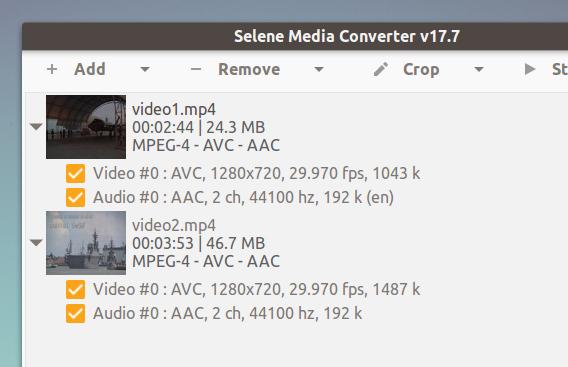 Selene v17.7 Ubuntu 動画変換アプリ タイルビュー