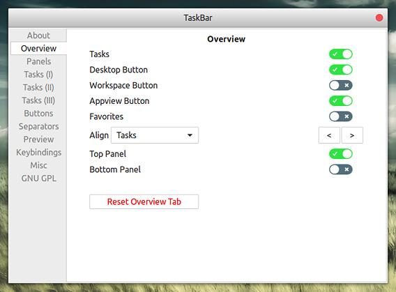 TaskBar Ubuntu GNOME拡張機能 トップバー オプション Overview