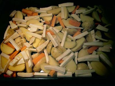 ジャガイモ、人参のオーブン料理1