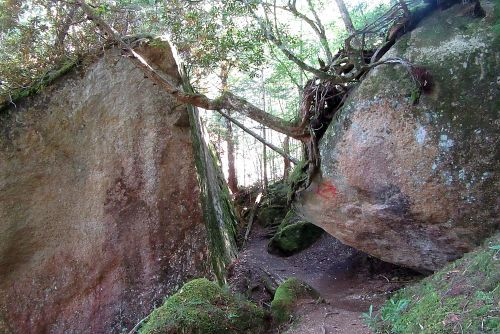 大岩の間を行く