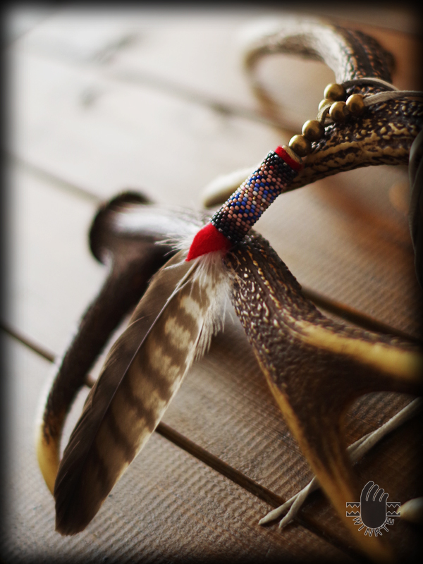 Beaded Feather Pendant Head 1