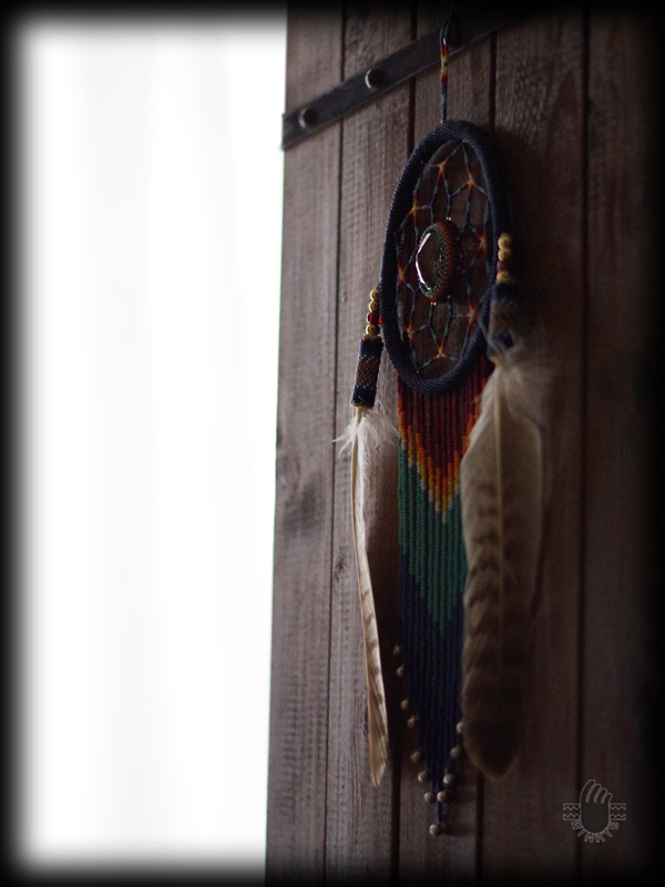 Beaded Feather with Dream Catcher 05