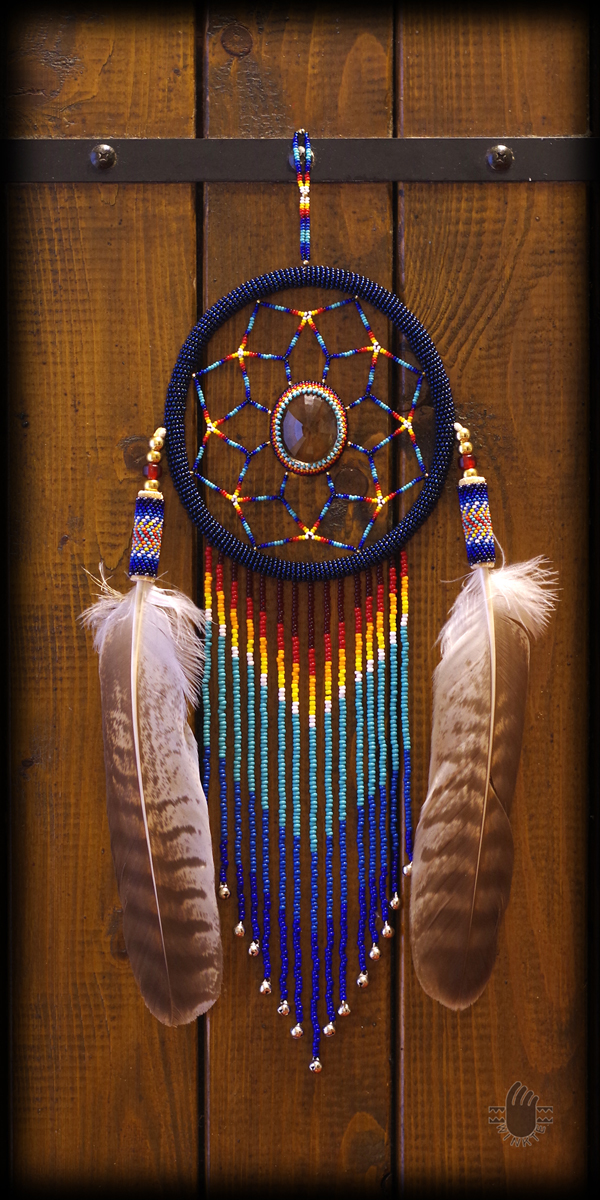 Beaded Feather with Dream Catcher 01