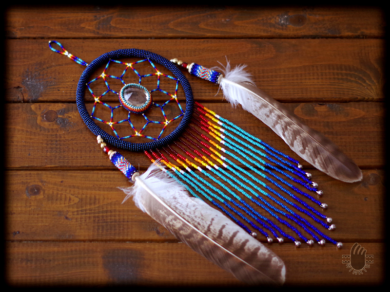 Beaded Feather with Dream Catcher 02