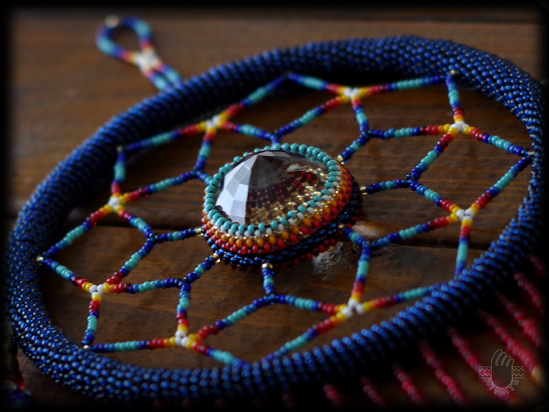 Beaded Feather with Dream Catcher 03