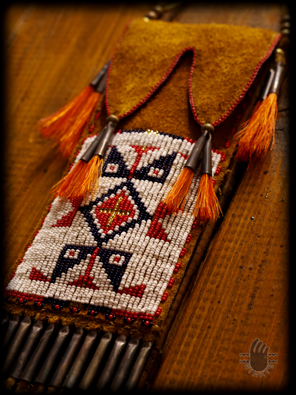 Beaded Buffalo Hide Pouch 6