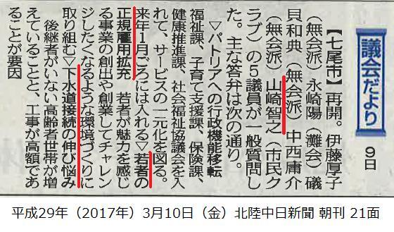 平成29年3月10日(金)北陸中日新聞 朝刊 21面