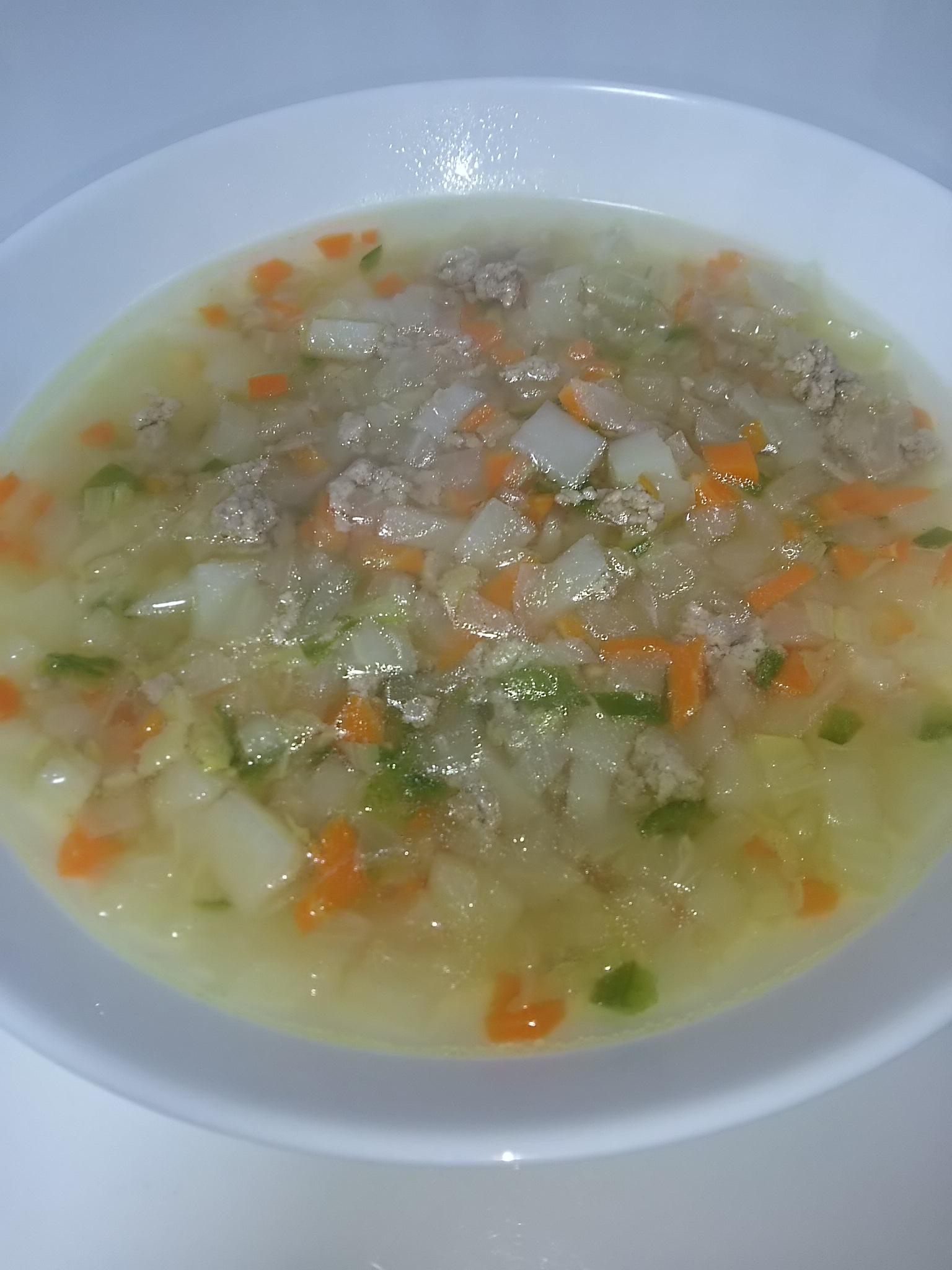 ひき肉とジャガイモの彩りスープ