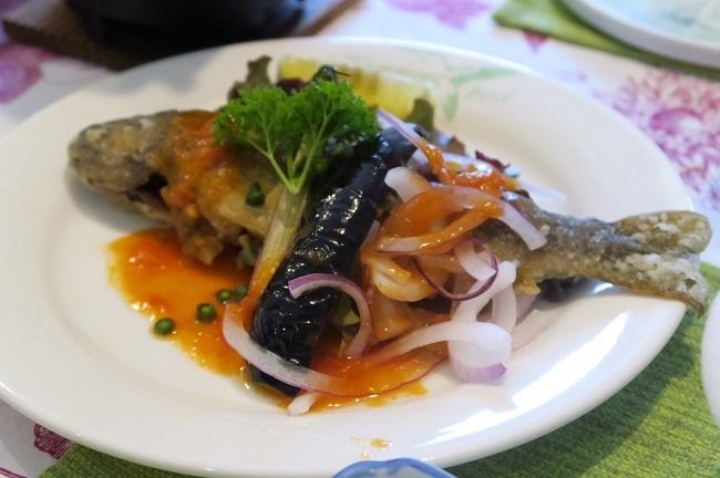 岩魚の塩焼き イタリアン風