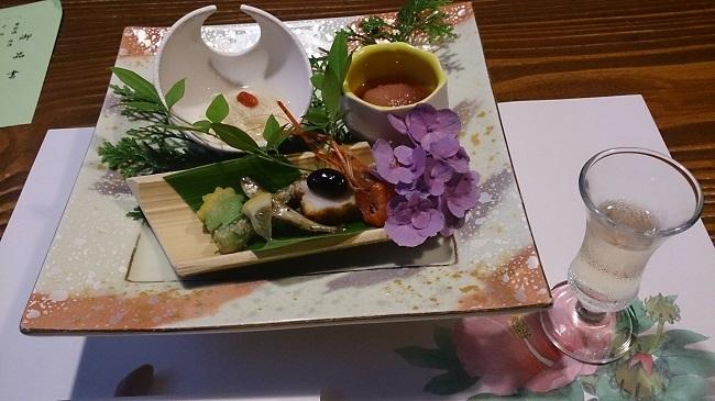 彩の庄 夕食 前菜、食前酒