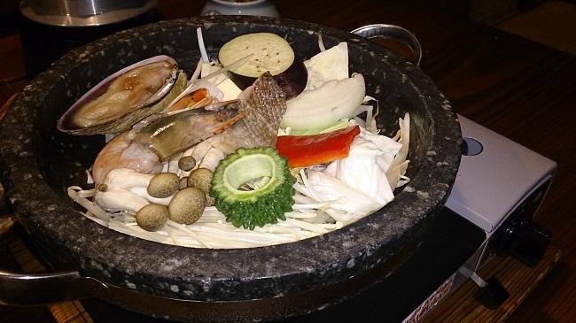 彩の庄 夕食 海鮮石焼