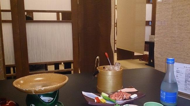 夢龍胆 夕食料理 テーブル