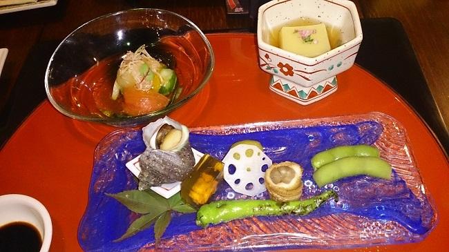 彩岳館 夕食料理1