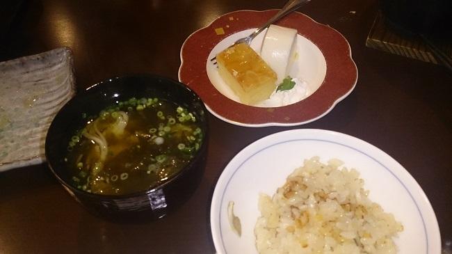 ホテルグランド天空 夕食料理5 釜飯、デザート