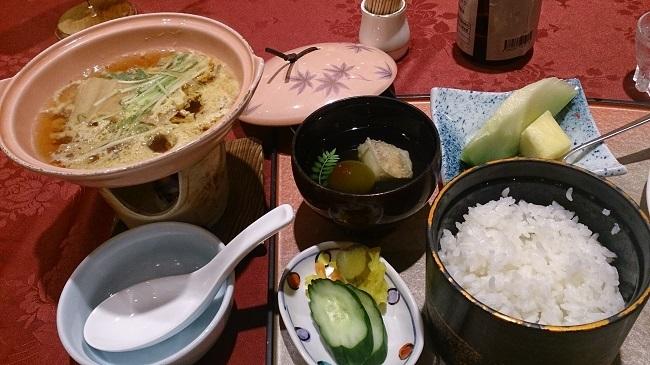 青雲荘 夕食 柳川風鍋とご飯もの