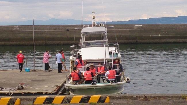 イルカウォッチング クルーザー 乗船