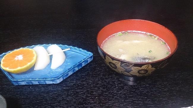民宿大漁丸 夕食料理 味噌汁、デザート