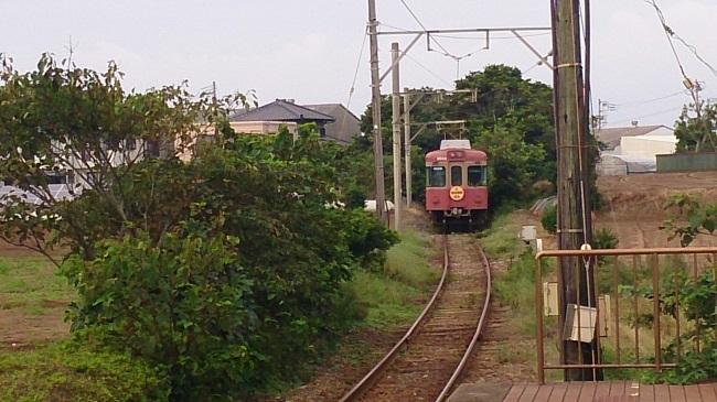 銚子電鉄 犬吠駅 入線する電車