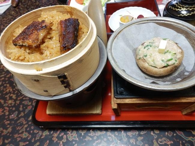 亀山亭 夕食料理 しいたけステーキ、鰻わっぱ飯