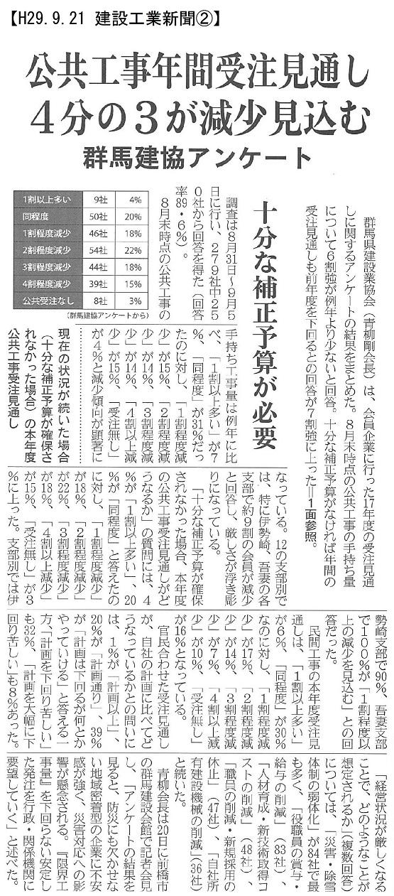 170921 群馬建協 受注工事アンケート②:建設工業