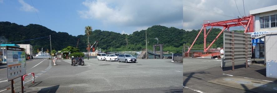 山川港の周囲の山並み