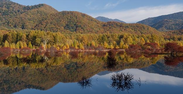 黄葉を映す小田代湖