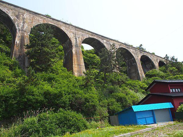 旧戸井線のアーチ橋