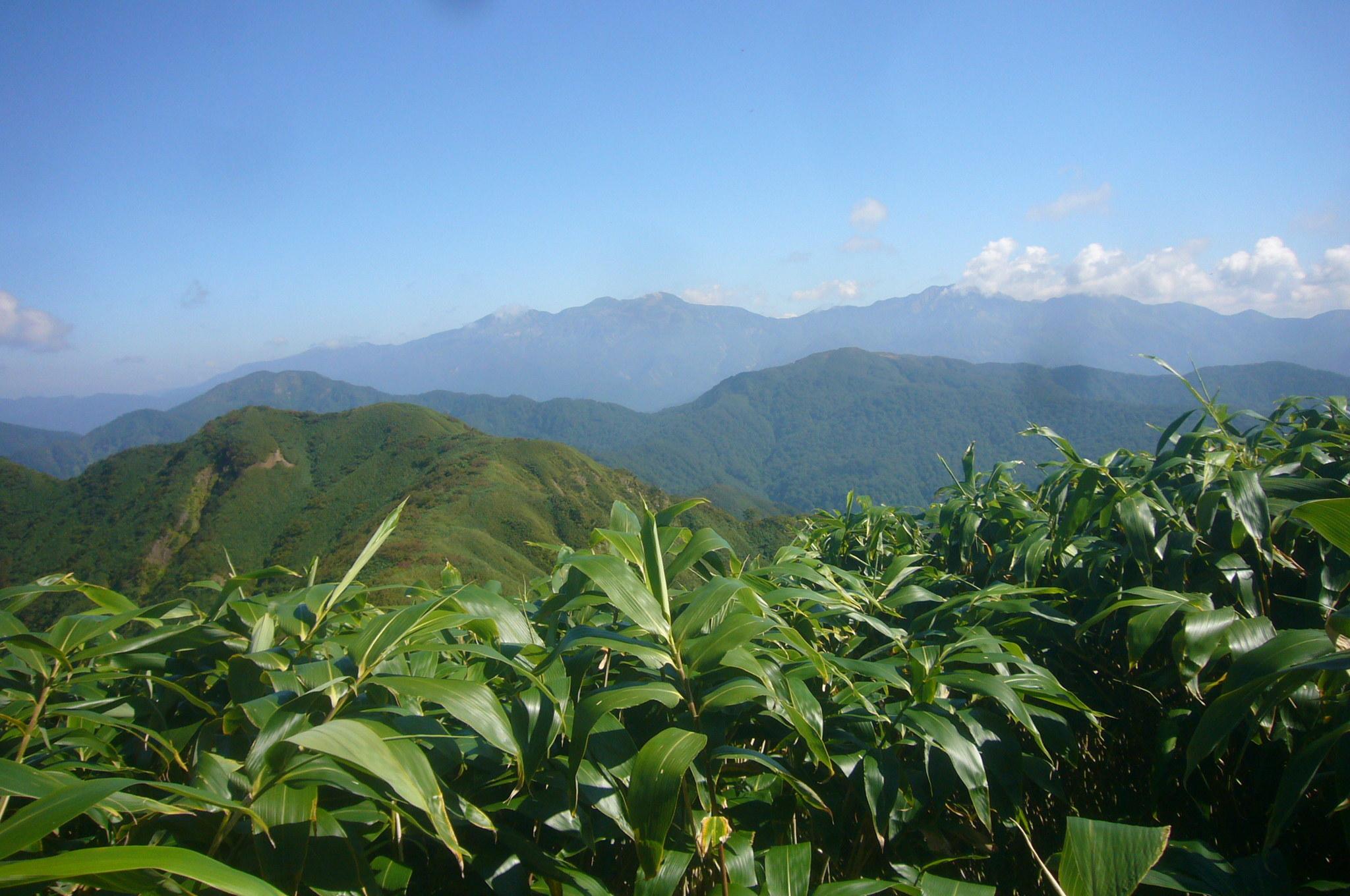 経ヶ岳三角点から白山連峰、大長・赤兎 H27.9.24