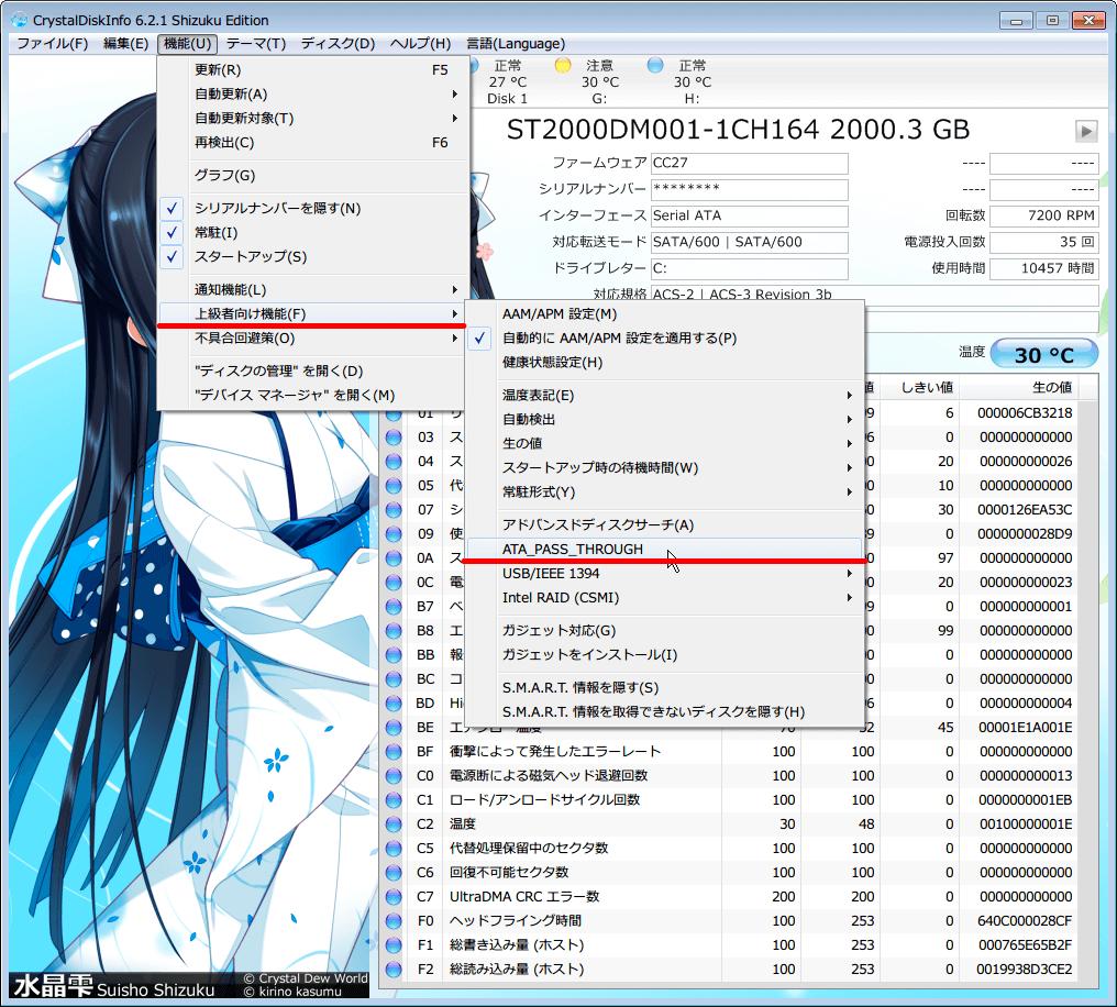 CrystalDiskInfo 5.6.2 から 6.2.1 へアップデート、APM の設定のスライダーの位置が 80h(スライダー中央の位置) に勝手に戻る原因は、上級者向け機能にある ATA_PASS_THROUGH のチェックマークが外れていたため