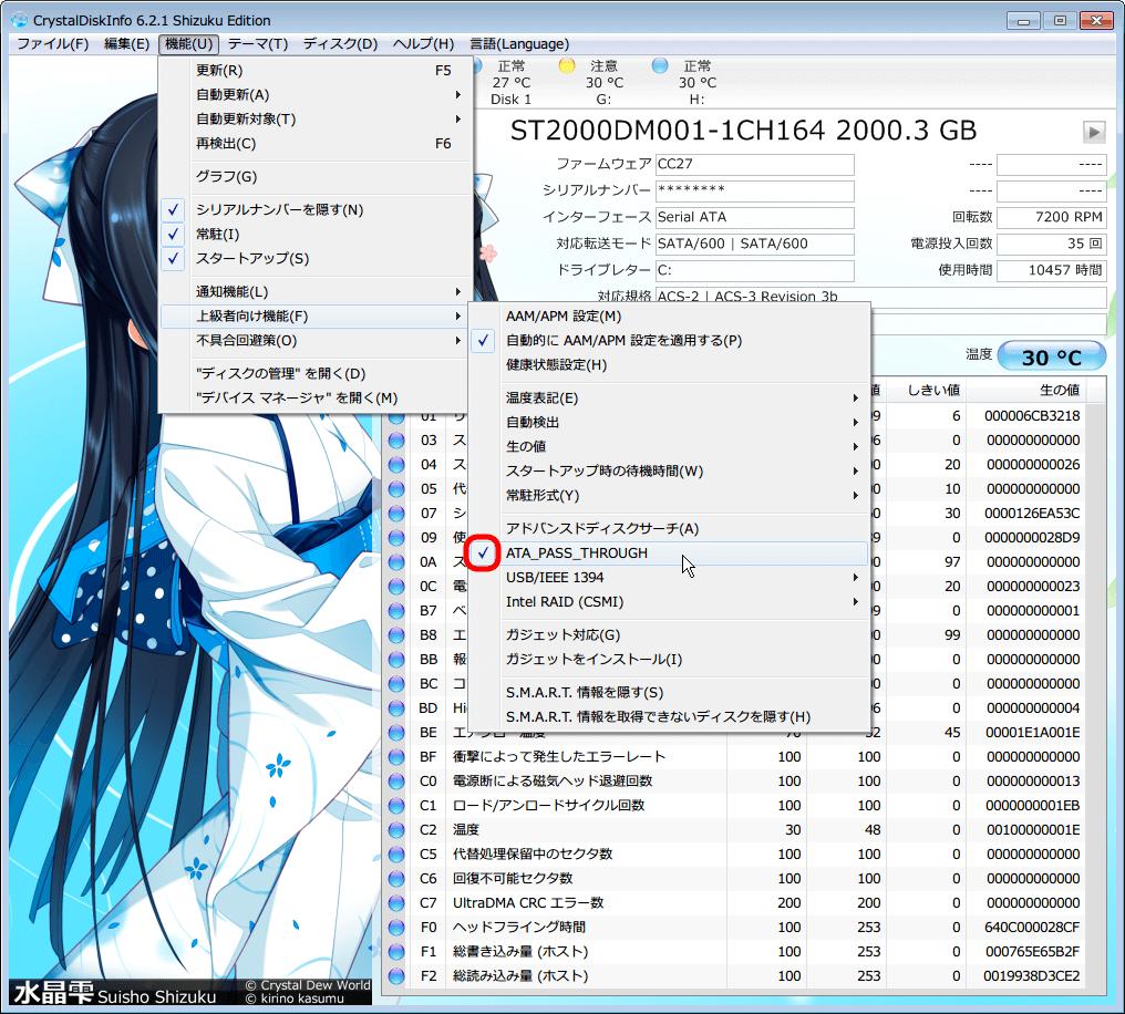 CrystalDiskInfo 5.6.2 から 6.2.1 へアップデート、上級者向け機能にある ATA_PASS_THROUGH にチェックマーク