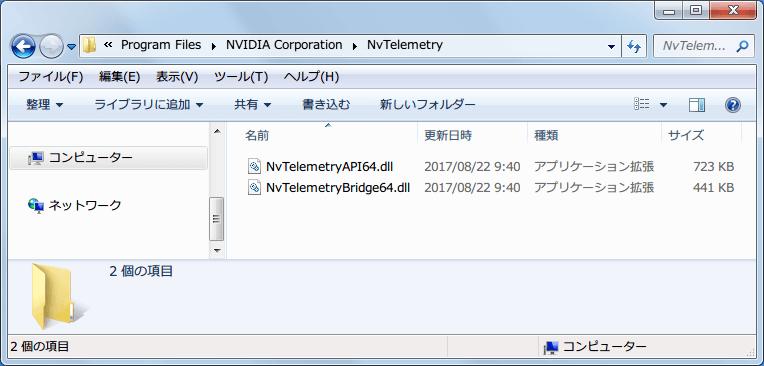 NVIDIA GeForce Driver 385.41 WHQL インストール後の C:\Program Files\NVIDIA Corporation\NvTelemetry フォルダ(NvTelemetryAPI64.dll、NvTelemetryBridge64.dll)