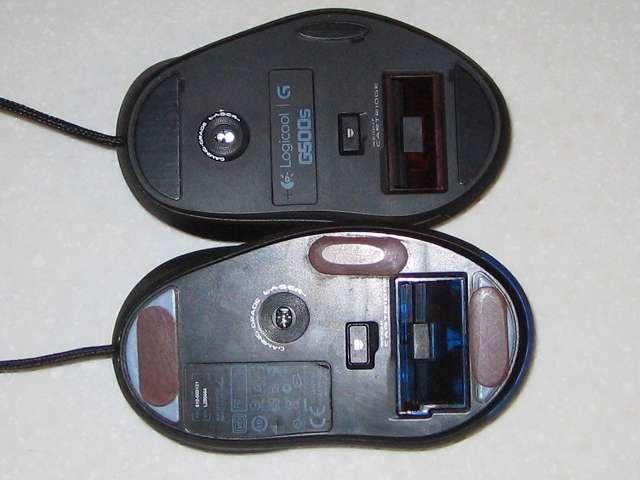 ロジクール G500s レーザーゲーミングマウスとロジクール G5 レーザーゲーミングマウス  と G5(G-5T) レーザーマウス 比較 底面、センサー位置