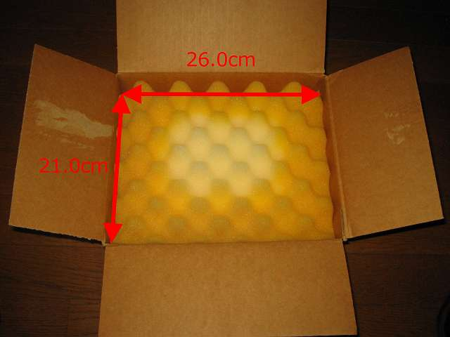 Seagate ハードディスク RMA 梱包箱 ダンボールの内寸および緩衝材用のスポンジサイズ 幅 26.0cm×奥行 21.0cm