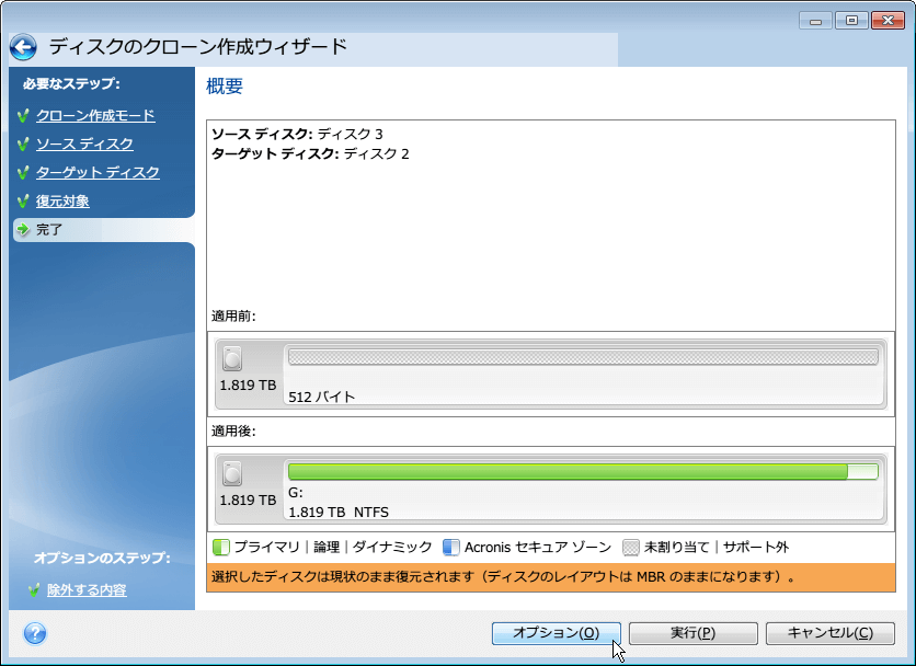 Seagate DiscWizard v16.0.5840(Acronis True Image の機能限定版) クローン作成を実行する前の設定内容確認画面。ソースディスク(コピー元・クローン元 HDD) と ターゲットディスク(コピー先・クローン先 HDD) の表示、 「適用前」「適用後」 欄にクローン実行前・後の HDD の状態を事前に確認できる