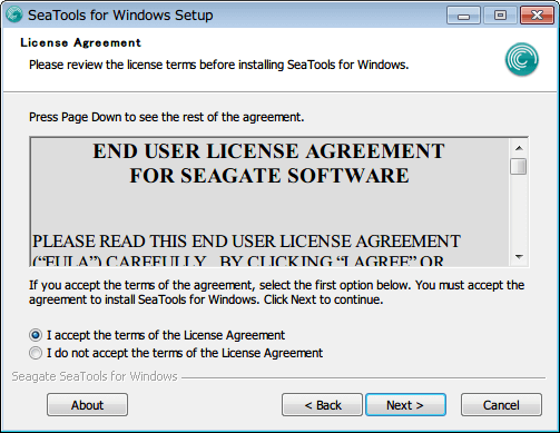 SeaTools for Windows 1.2.0.10 インストール License Agreement 画面、I accept the terms of the License Agreement を選択して Next ボタンをクリック