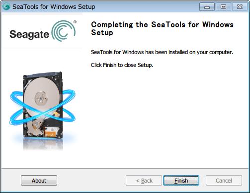 SeaTools for Windows 1.2.0.10 インストール Finish ボタンをクリックして Seatools インストール完了