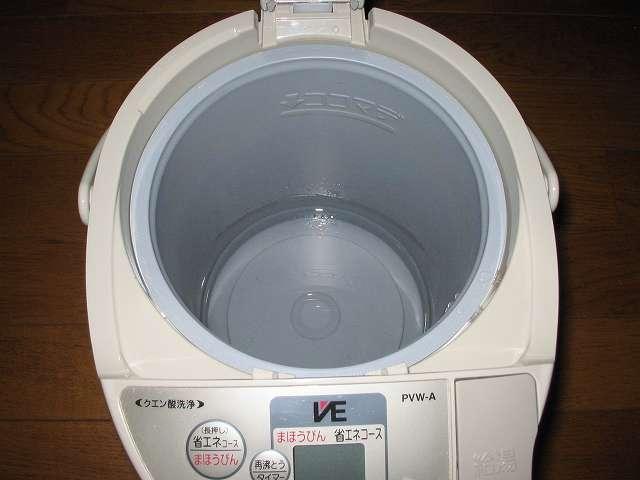 タイガー 電気まほうびん とく子さん 3L PVW-A300 クエン酸 約 30g をお湯 約 200ml で溶かし、内容器の底の穴に入れる