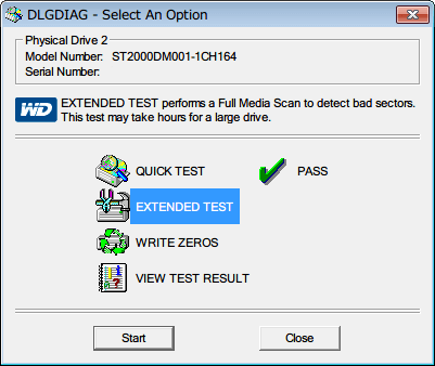 Western Digital Data Lifeguard Diagnostic v1.27 EXTENDED TEST を選択して Start ボタンをクリック